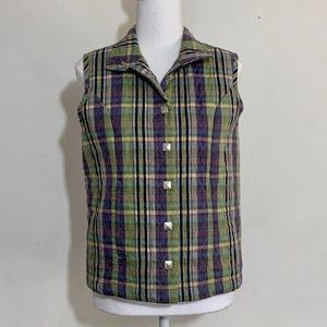 Christopher & Banks Plaid Quilted Button Up Vest S